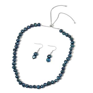 Freshwater Peacock Pearl Stainless Steel Earrings and Necklace (Adjustable)