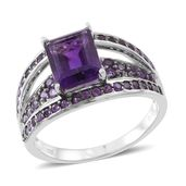 Amethyst Sterling Silver Bridge Ring (Size 7.0) TGW 4.05 cts.