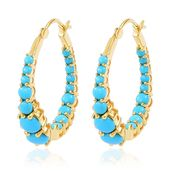 Arizona Sleeping Beauty Turquoise 14K YG Over Sterling Silver Inside Out Hoop Earrings TGW 2.90 cts.