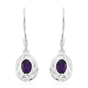 Amethyst Sterling Silver Dangle Earrings TGW 1.00 cts.