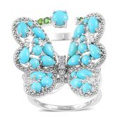 Arizona Sleeping Beauty Turquoise, Russian Diopside, White Zircon 14K YG Over and Sterling Silver Double Band Flapping Butterfly Knuckle Ring (Size 8.0) TGW 4.16 cts.