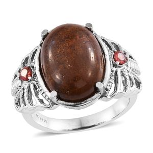 Aqua Nueva Moss, Simulated Red Diamond Stainless Steel Ring (Size 9.0) TGW 12.26 cts.