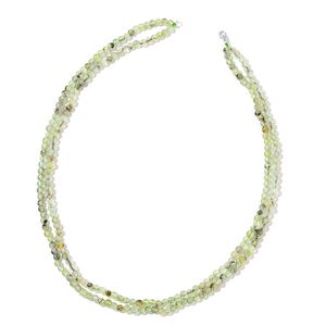 Prehnite Beads Sterling Silver Row Necklace (18 in) TGW 119.00 cts.