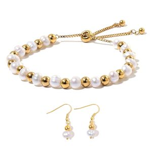 Freshwater Pearl ION Plated YG Stainless Steel Drop Earrings and Bracelet (Adjustable)