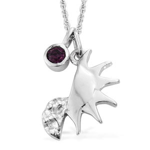 KASI Collection - Always Hope Platinum Over Sterling Silver Pendant and Charm with Chain (16 in) Made with SWAROVSKI Crystal TGW 0.20 cts.