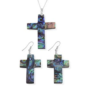 Bali Legacy Collection Abalone Shell Stainless Steel Cross Earrings and Pendant With Chain