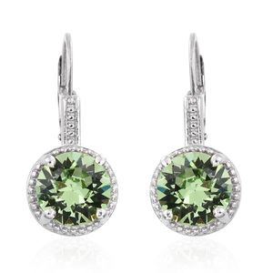 KARIS Collection - Platinum Bond Brass Lever Back Earrings Made with SWAROVSKI Peridot Crystal