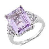 Rose De France Amethyst, Cambodian Zircon Platinum Over Sterling Silver Ring (Size 8.0) TGW 12.25 cts.