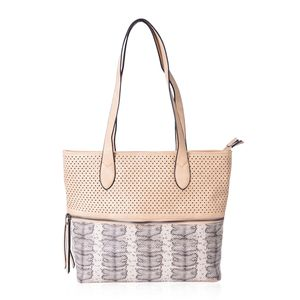 Tan Pierced Faux Leather and Snake Print Spacious Shoulder Bag (12x5x11 in)