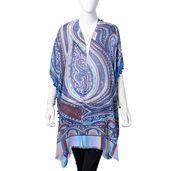 Blue 100% Viscose Paisley Pattern Kimono with Small Pom Pom (33.47x34.65 in)