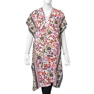 Multi Color Floral Pattern 100% Viscose Kimono (27.56x37.41 in)