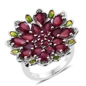 Niassa Ruby Platinum Over Sterling Silver Floral Ring (Size 7.0) TGW 8.83 cts.