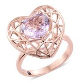 GP Rose De France Amethyst 14K RG Over Sterling Silver Openwork Heart Ring (Size 10.0) TGW 3.92 cts.