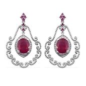 Niassa Ruby, Ruby, Cambodian Zircon Platinum Over Sterling Silver Earrings TGW 8.31 cts.