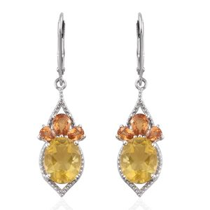 Canary Fluorite, Yellow Sapphire Platinum Over Sterling Silver Lever Back Earrings TGW 7.70 cts.