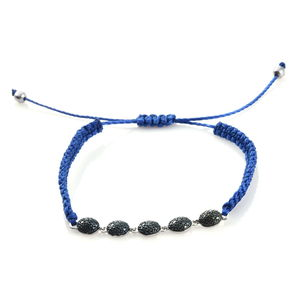 Blue Diamond Accent (IR) Platinum Over Sterling Silver Bracelet on Blue Cord (Adjustable)
