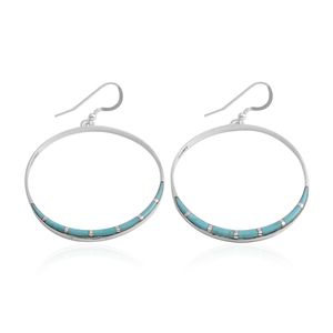 Santa Fe Style Kingman Turquoise Sterling Silver Hoop Earrings TGW 3.50 cts.
