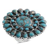 Santa Fe Style Mohave Turquoise Sterling Silver Ring (Size 10.0) TGW 10.50 cts.