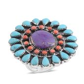 Santa Fe Style Mojave Purple Turquoise, Multi Gemstone Sterling Silver Ring (Size 8.0) TGW 8.00 cts.