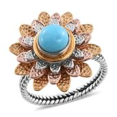 Artisan Crafted Arizona Sleeping Beauty Turquoise 14K YRG and Platinum Over Sterling Silver Spinner Floral Ring (Size 8.0) TGW 1.12 cts.
