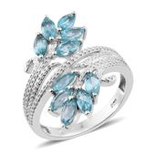 Madagascar Paraiba Apatite Platinum Over Sterling Silver Bypass Ring (Size 5.0) TGW 2.55 cts.