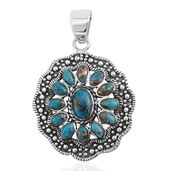 Santa Fe Style Mojave Blue Turquoise Sterling Silver Pendant without Chain TGW 1.75 cts.
