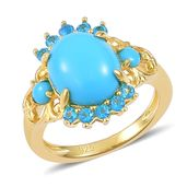 Arizona Sleeping Beauty Turquoise, Malgache Neon Apatite14K YG Over Sterling Silver Ring (Size 9.0) TGW 2.96 cts.