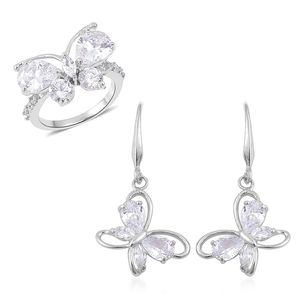 Simulated White Diamond Silvertone Butterfly Threader Earrings and Ring (Size 6) TGW 7.00 cts.