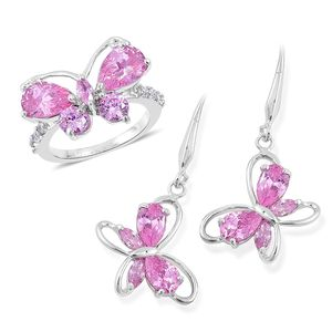 Simulated Pink Diamond Silvertone Butterfly Threader Earrings and Ring (Size 9) TGW 7.00 cts.