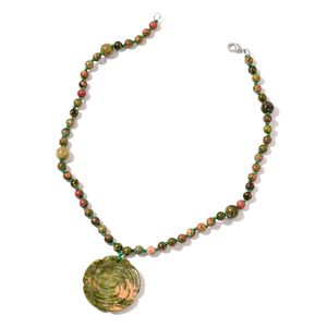 Unakite Sterling Silver Necklace (18 in) TGW 226.000 Cts. TGW 226.00 Cts.