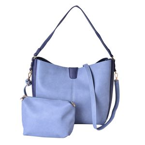 Sky Blue and Navy Faux Leather Tote Bag (12x4.6x11 in) and Pouch Bag (7.2x3.2x6 in)
