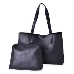 Black Faux Leather Tote Bag (18x6x10.5 in) and Pouch Set (11x2.5x8 in)