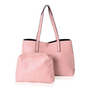Pink Faux Leather Tote Bag (18x6x10.5 in) and Pouch Set (11x2.5x8 in)