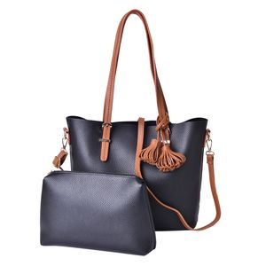 Black and Brown Faux Leather Tote Bag (15.4x13x11.3 in) and Pouch Bag (11x2.4x7.4 in)