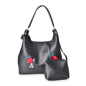 Black Faux Leather Eye-Catching Embroidery Floral Pattern Tote Bag (15x5x12 in) with Matching Pouch (9x3x6 in)