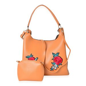 Camel Faux Leather Eye-Catching Embroidery Floral Pattern Tote Bag (15x5x12 in) with Matching Pouch (9x3x6 in)