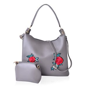 Gray Faux Leather Eye-Catching Embroidery Floral Pattern Tote Bag (15x5x12 in) with Matching Pouch (9x3x6 in)