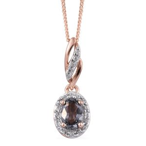 Platinum Spinel, Cambodian Zircon 14K RG Over Sterling Silver Pendant With Chain (20 in) TGW 0.83 cts.