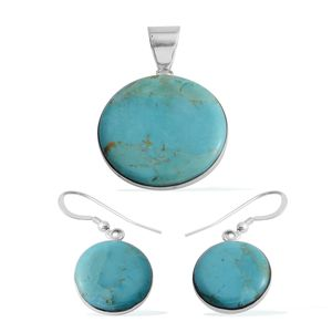 Santa Fe Style Kingman Turquoise Sterling Silver Earrings and Pendant withot Chain TGW 19.25 cts.