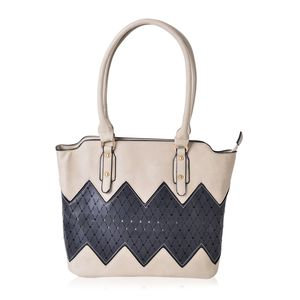 Beige and Black Faux Leather Tote Bag (15.4x12.6x11 in)