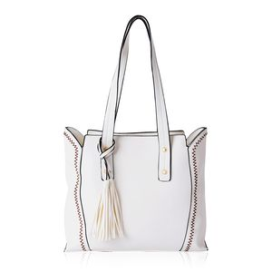 White Faux Leather Tote Bag with Tassel (14x12.6x10.5 in)