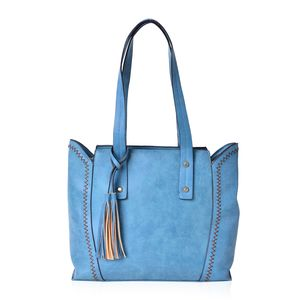 Blue Faux Leather Tote Bag with Tassel (14x12.6x10.5 in)