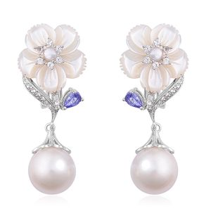 White South Sea Pearl (10-10.5 in), Multi Gemstone Platinum Over Sterling Silver Earrings TGW 0.95 cts.