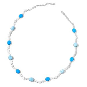 Larimar, Arizona Sleeping Beauty Turquoise Sterling Silver Station Necklace (20 in) TGW 31.10 cts.
