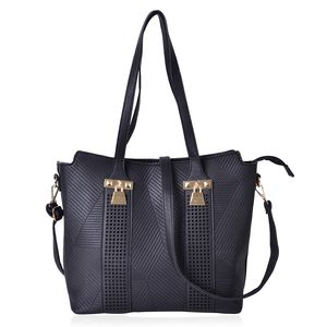 Black Geometric Pattern Faux Leather Laser-cut Shoulder Bag with Standing Studs and Removable Strap (14x6x11 in)