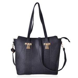 Black Faux Leather Laser-cut Checks Pattern Tote Bag (15.2x12.4x11 in)
