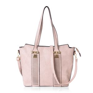 Nude Faux Leather Laser-cut Checks Pattern Tote Bag (15.2x12.4x11 in)