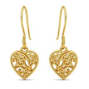 14K YG Over Sterling Silver Openwork Heart Earrings (3.35g)