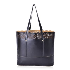Black Faux Leather Laser-cut Pattern Tote Bag (13.4x4.3x12 in)