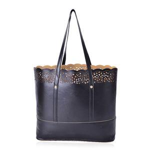 Black Vegan Leather Laser-cut Tote Bag (14x4x12 in)